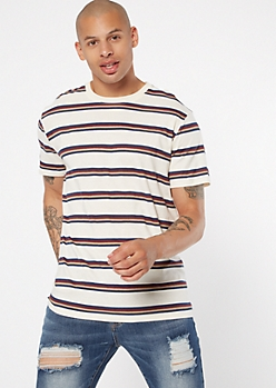 Ivory Striped Crew Neck Tee