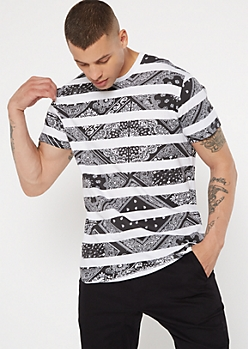 White Paisley Print Striped Tee