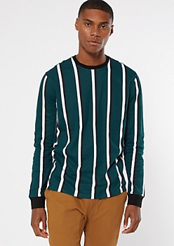 Green Striped Long Sleeve Crew Neck Tee