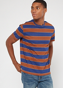 Camel Striped Crew Neck Tee