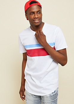 White Dual Tone Athletic Striped Chest Tee
