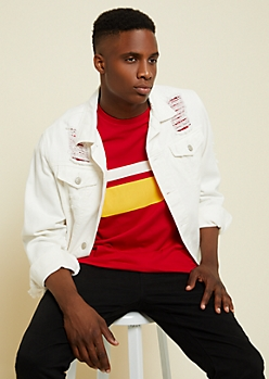 Red Dual Tone Athletic Striped Chest Tee