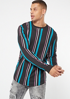 Teal Striped Long Sleeve Crew Neck Tee