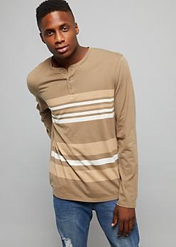 Olive Striped Pocket Henley Top