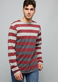 Burgundy Striped Gradient Long Sleeve Tee