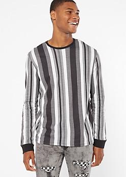 Black Vertical Striped Long Sleeve Tee