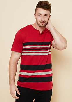 Red Striped Pattern Essential Henley Tee