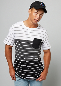 Gray Striped Gradient Pocket Henley Tee
