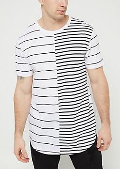 White Split Stripes Tee