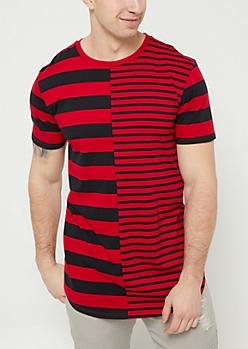 Red Split Stripes Tee