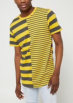 Yellow Split Stripes Tee