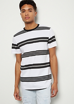 White Striped Short Sleeve Tee