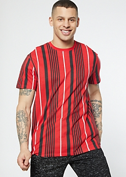 Red Vertical Striped Tee