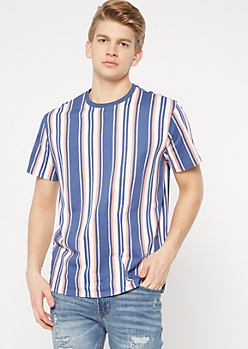 Navy Vertical Striped Tee