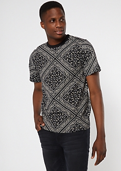 Black Allover Bandana Print Tee