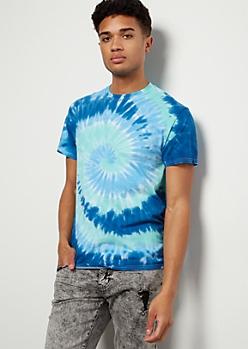 Teal Spiral Tie Dye Print Tee