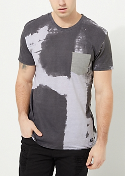 Black Wash Single Pocket Knit Tee