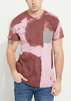 Burgundy Wash Single Pocket Knit Tee