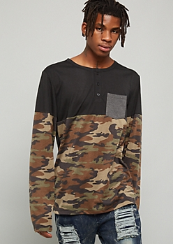 Camo Print Colorblock Pocket Henley Tee