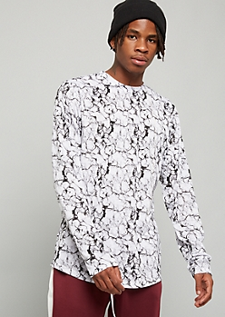 White Marble Print Long Sleeve Crew Neck Tee