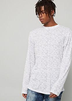 White Space Dye Long Sleeve Crew Neck Tee