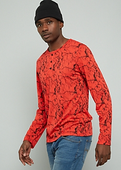 Red Marbled Print Long Sleeve Henley Tee