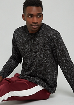 Black Space Dye Crew Neck Long Sleeve Tee