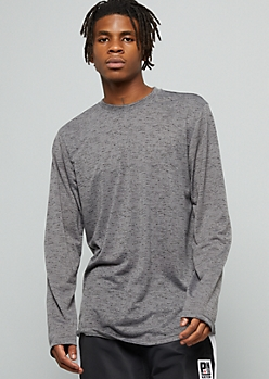 Gray Space Dye Crew Neck Long Sleeve Tee