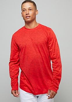 Red Space Dye Crew Neck Long Sleeve Tee