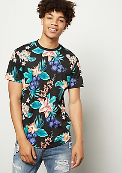 Black Tropical Print Crew Neck Tee