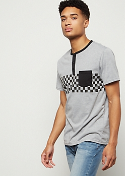 Heather Gray Checkered Print Chest Pocket Henley Tee