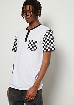 White Checkered Print Sleeve Henley Tee