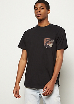Black Camo Print Pocket Tee