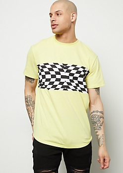 Yellow Illusion Checkered Print Tee