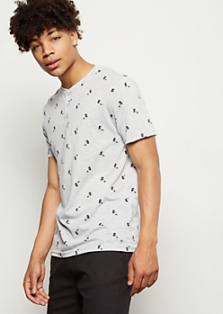 Gray Palm Tree Print Henley Tee