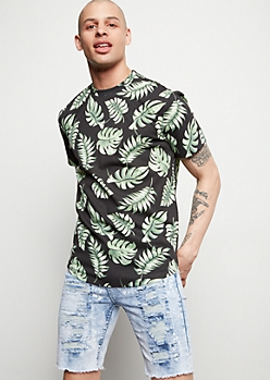 Black Palm Leaf Print Tee