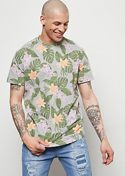 Gray Tropical Floral Print Tee