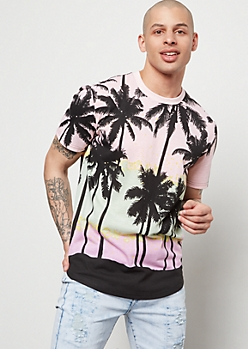 Pink Gradient Palm Tree Print Tee