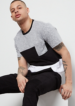 Gray Space Dye Colorblock Chest Pocket Tee