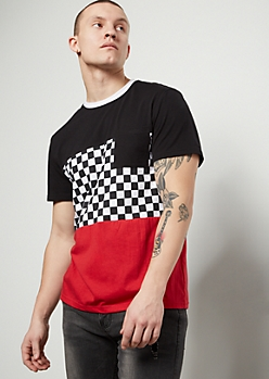 Red Checkered Print Colorblock Chest Pocket Tee