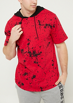 Red Splattered Short Sleeve Hoodie