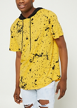 Yellow Splattered Short Sleeve Hoodie