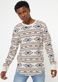 Ikat Print Crew Neck Thermal Top