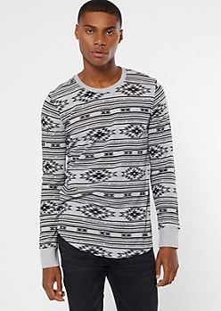 Gray Ikat Print Crew Neck Thermal Top