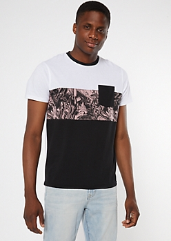 Pink Oil Slick Print Colorblock Pocket Tee
