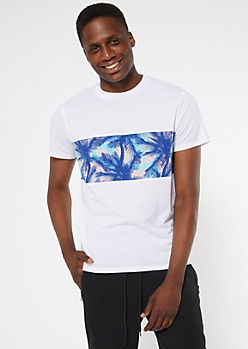 White Tropical Print Colorblock Tee