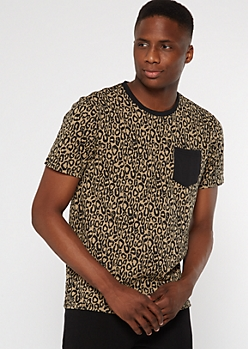 Leopard Print Colorblock Pocket Tee