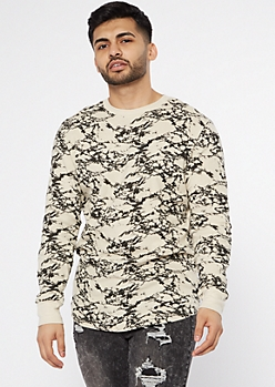 Sand Marble Print Thermal Crew Neck Top