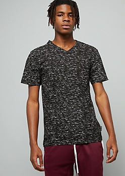 Black Space Dye V Neck Pocket Tee