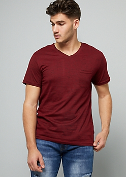 Red Space Dye V Neck Pocket Tee